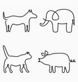 animals one line drawing continuous line print vector image
