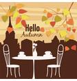 autumn landscape street cafe autumn leaves vector image vector image