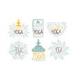 ayurvedic yoga labels set enjoy yoga studio hand vector image vector image