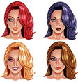 Beautiful girls with nice haircuts vector image vector image