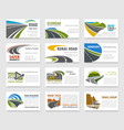 business card template with road and highway vector image vector image
