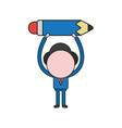 businessman character holding up pencil color and vector image vector image