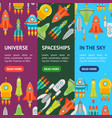 cartoon space ship or rocket banner vecrtical set vector image vector image