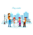 children in winter clothes sculpt snowman vector image vector image