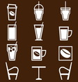 Coffee drinks icons in coffee shop vector image