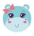 colorful caricature face of female hippo animal vector image vector image