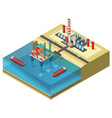 colorful petroleum industry isometric concept vector image vector image