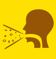 cough icon on yellow background vector image vector image