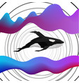 creative orca dolphin design on modern background vector image vector image
