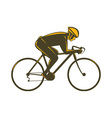 cyclist riding bicycle viewed from side vector image vector image