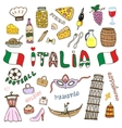 Doodle hand sketch collection of Italy icons vector image vector image