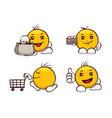 emoji set - shopping vector image vector image