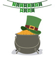 festoons patricks day with hat over treasure of vector image