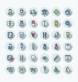 flat color thin line icons set with medical vector image