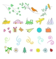 fun summer spring travel set icon vector image