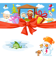 funny christmas design with nativity vector image vector image