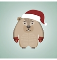 Funny hipster wombat wearing Santas hat vector image vector image