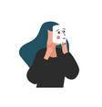 girl wearhing emotion mask depressed and needs vector image