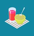 green buckwheat porridge and fruit juice vector image