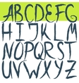 Hand drawn brushed letters alphabet Grunge font vector image