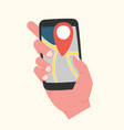 hand holding phone with map and pin destination on vector image