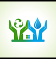hand with water drop and recycle icon make a home vector image vector image