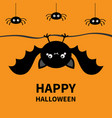 happy halloween bat spider set hanging cute vector image