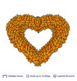 heart shaped garland of autumn leaves vector image