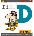 letter d with cartoon diver vector image
