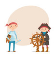 little boys dressed as pirates with place for text vector image vector image