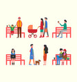man sitting on bench couple and family walking vector image vector image