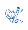 man surfing line icon concept man surfing flat vector image vector image