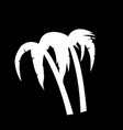 palm trees icon isolated on black background vector image vector image