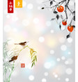 persimmon and little birds on bamboo tree vector image