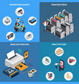 printing house isometric concept vector image vector image