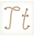 Rope alphabet Letter T vector image vector image