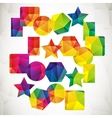 set colorful geometric icons vector image
