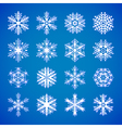 set-of-white-snowflakes-on-blue vector image vector image