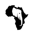 silhouette africa with white elephant head vector image