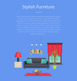 stylish furniture banner isoalted on blue backdrop vector image vector image