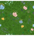Summer Watercolor Flowers Green Seamless Pattern vector image