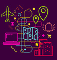 Symbols of traveling and navigation on abstract vector image vector image