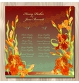 Table guest list Background with red iris flowers vector image vector image