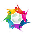 teamwork swoosh people around green world logo vector image vector image