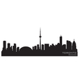 toronto canada skyline detailed silhouette vector image vector image