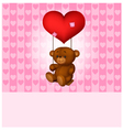 Toy teddy bear swinging on the balloon-heart vector image vector image