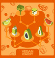 vegan life color concept isometric icons set vector image