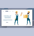 warehouse male worker control of goods delivery vector image vector image