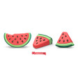 watermelon summer fruit plasticine art 3d icon set vector image vector image