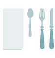 white dining napkin with cutlery icon flat vector image vector image